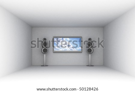 3d illustration of empty room with tv and audio system - stock photo