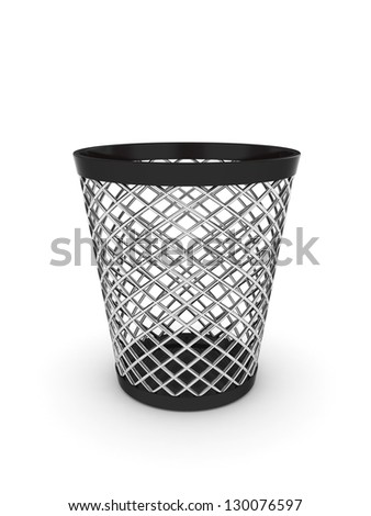3d illustration of empty trash bin. Isolated on white background