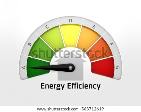 3D illustration of Energy Efficiency idea, meter with arrow pointing at the greenest part, maximum energy efficient.