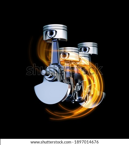 3d illustration of engine pitons with energy tracks ストックフォト ©