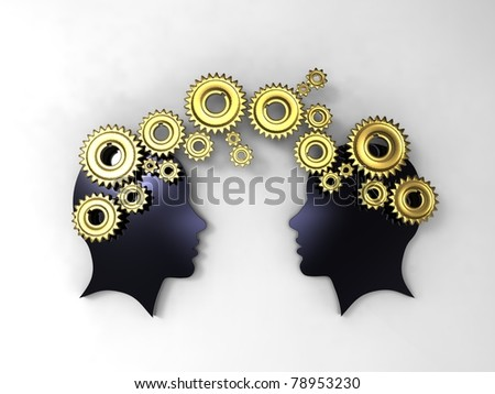 3d illustration of faces in profile with between golden gears on white background