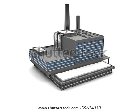 3d illustration of factory building over white background