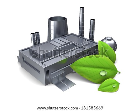 3d illustration of factory building with green leaf, over white background