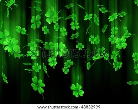 3D illustration of falling shamrock leaves Saint Patrick's day symbol isolated on black background