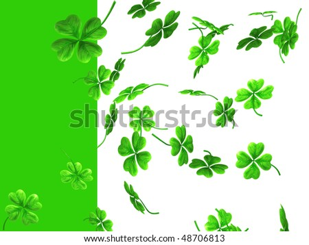 3D illustration of falling shamrock leaves Saint Patrick's day symbol isolated on white green background