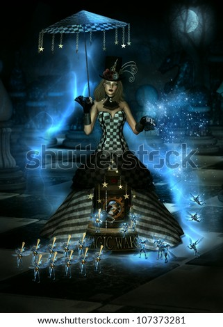 3D illustration of  female character dressed in a long Steampunk Victorian gown.  At the base of the skirt is a miniature Carousel with the words Magic Wars. Surrounded by tiny winged creatures.