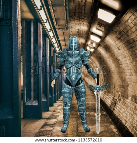 Stock Photo 3D Illustration of Female Urban Ninja Warrior in Moody Surrounding