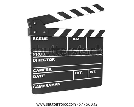 3d illustration of film clap over white background