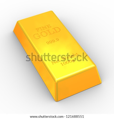 3d illustration of fine gold bar on white background