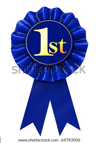 3d illustration of first place blue ribbon over white background
