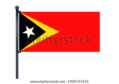 3D illustration of flag of Timor-Leste with chrome flag pole with snap hooks in blue sky straight. White background via an alpha channel of great precision. Foto stock ©