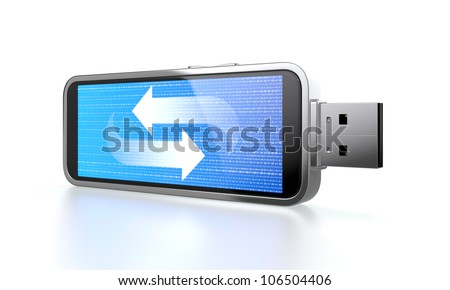 3D illustration of flash drive with blue screen which shows data transfer