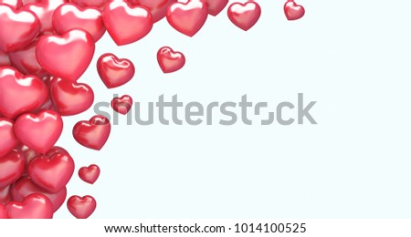 3d illustration of flying hearts #1014100525