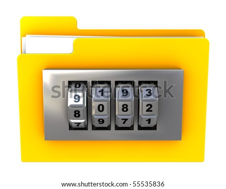 3d illustration of folder icon with combination lock, isolated over white
