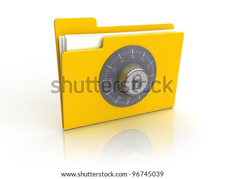 3d illustration of folder icon with combination lock, isolated over white background