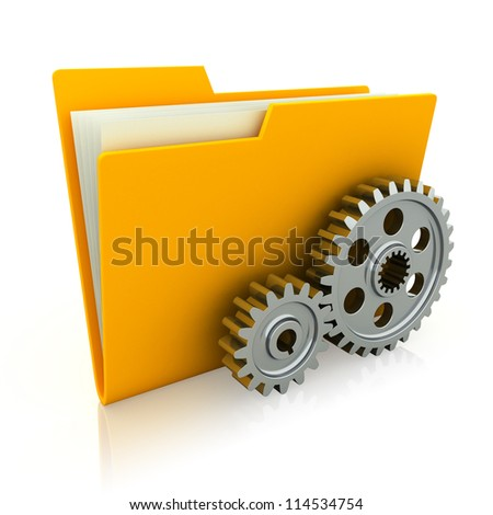 3d illustration of folder icon with gear wheel