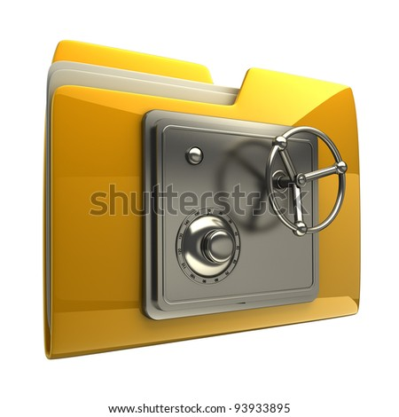 3d illustration of folder icon with security lock dial isolated on white background High resolution 3D