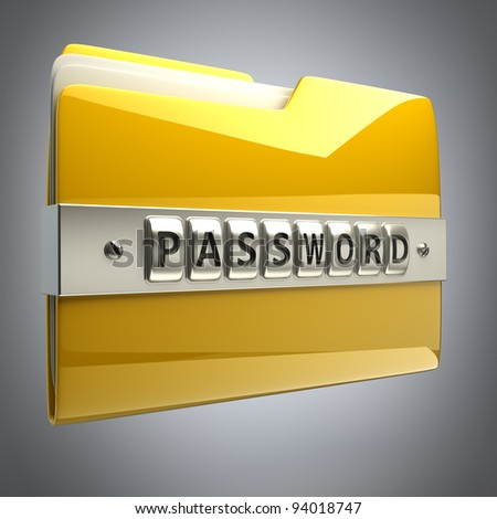 3d illustration of folder icon with security password High resolution 3D  ,