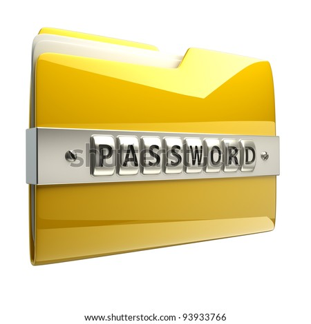 3d illustration of folder icon with security password isolated on white background High resolution 3D  ,