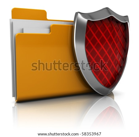 3d illustration of folder icon with shield, over white background
