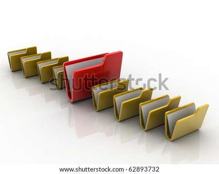 3d illustration of folder icons row with one selected #62893732