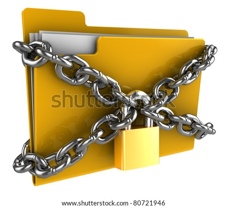 3d illustration of folder locked by chains isolated over white - stock photo