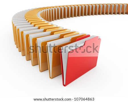3d illustration of folder row with red one. Isolated on white background