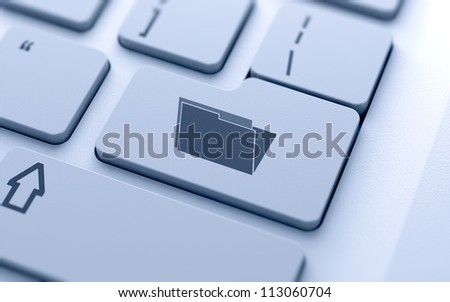 3d illustration of folder sign button on keyboard with soft focus