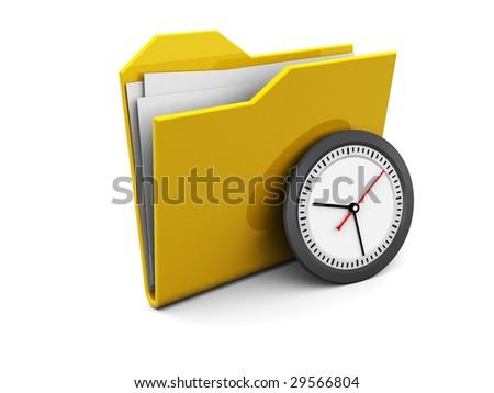 3d illustration of folder symbol with clock, over white background