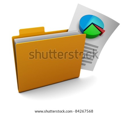 3d illustration of folder with business report