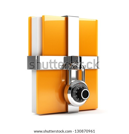 3d illustration of folder with combination lock. Isolated on white background