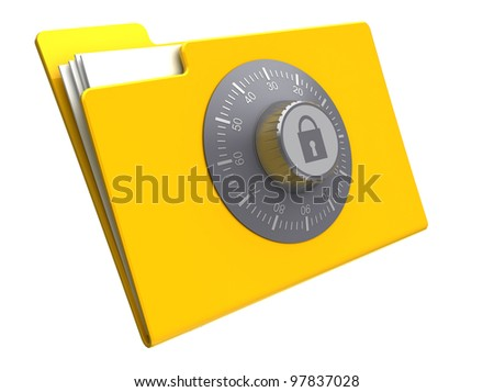 3d illustration of folder with combination lock, isolated over white background