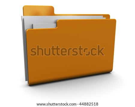 3d illustration of folder with documents icon - stock photo