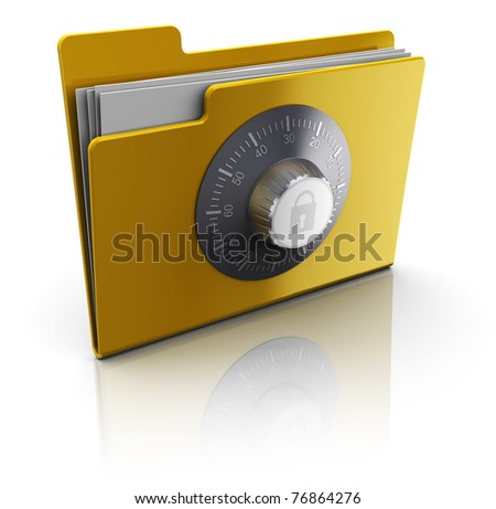 3d illustration of folder with documents protected by combination lock