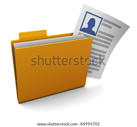 3d illustration of folder with profile data