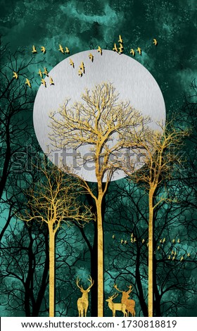 3d illustration of forest at evening with golden deer. Luxurious abstract art digital painting for wallpaper