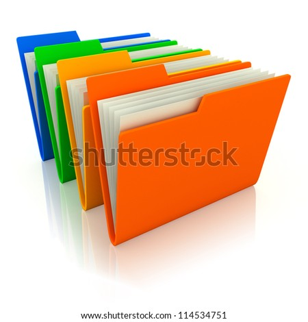 3d illustration of four folders with paper, over white background
