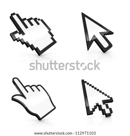3D illustration of four types of mouse pointers isolated on white background