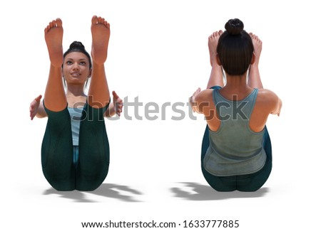 3D illustration of Front and Back Poses of a virtual Woman in Yoga Boat Pose with a white background