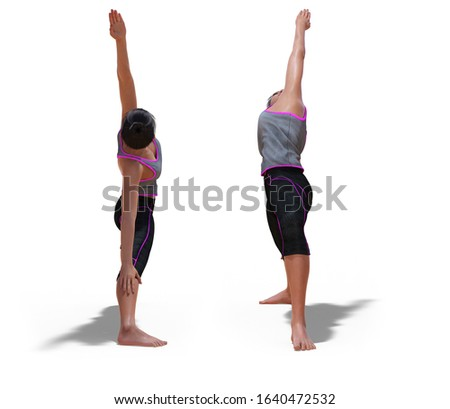 3D illustration of Front and Back Poses of a virtual Woman in Yoga Reverse Warrior Pose with a white background