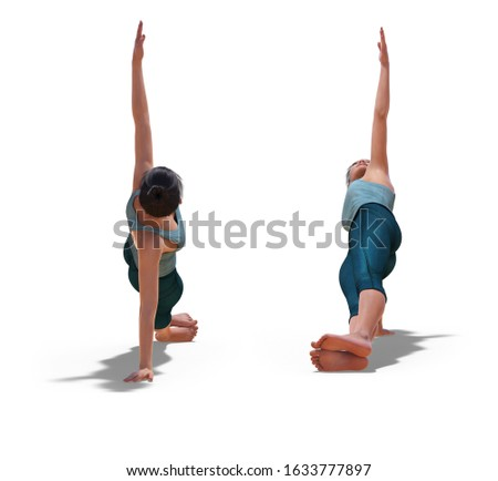 3D illustration of Front and Back Poses of a virtual Woman in Yoga Side Plank Pose with a white background