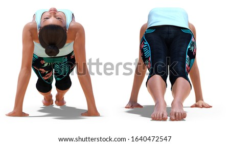 3D illustration of Front and Back Poses of a virtual Woman in Yoga Upward Plank Pose with a white background
