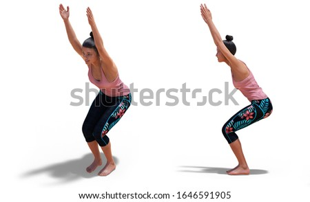3D illustration of Front and Left Profile Poses of a Virtual Woman in Yoga Chair Pose with a white background
