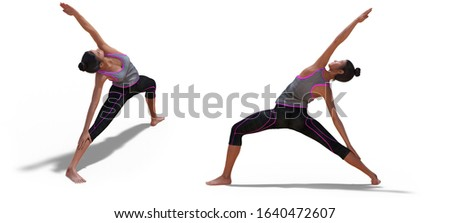 3D illustration of Front and Left Profile Poses of a Virtual Woman in Yoga Reverse Warrior Pose with a white background