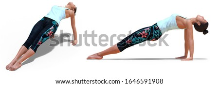 3D illustration of Front and Left Profile Poses of a Virtual Woman in Yoga Upward Plank Pose with a white background