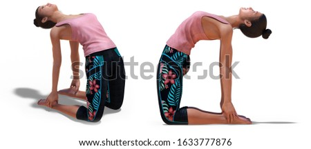 3D illustration of Front three-quarters and Left Profile Poses of a Virtual Woman in Yoga Camel Pose with a white background
