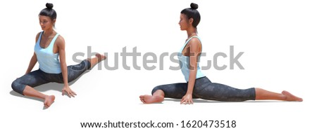 3D illustration of Front three-quarters and Left Profile Poses of a Virtual Woman in Yoga Half Pigeon Pose with a white background