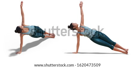 3D illustration of Front three-quarters and Left Profile Poses of a virtual Woman in Yoga Side Plank Pose with a white background