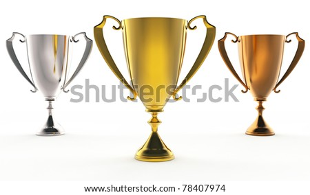 3D illustration of Front view of 3 trophies : golden, silver and bronze