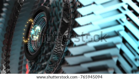 3D Illustration of Future technology, security concept background. Mechanical, Robotic gears, mecha core. Graphic Resource ストックフォト ©